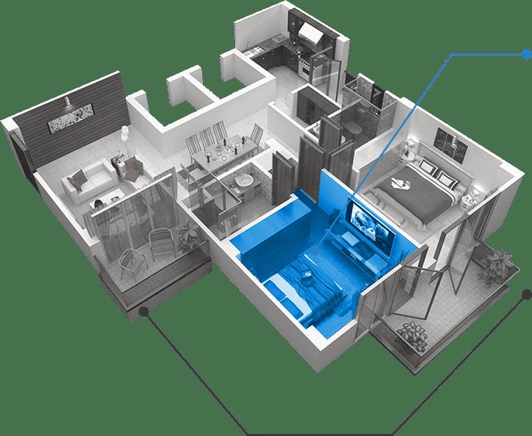 Комната в квартире 3d
